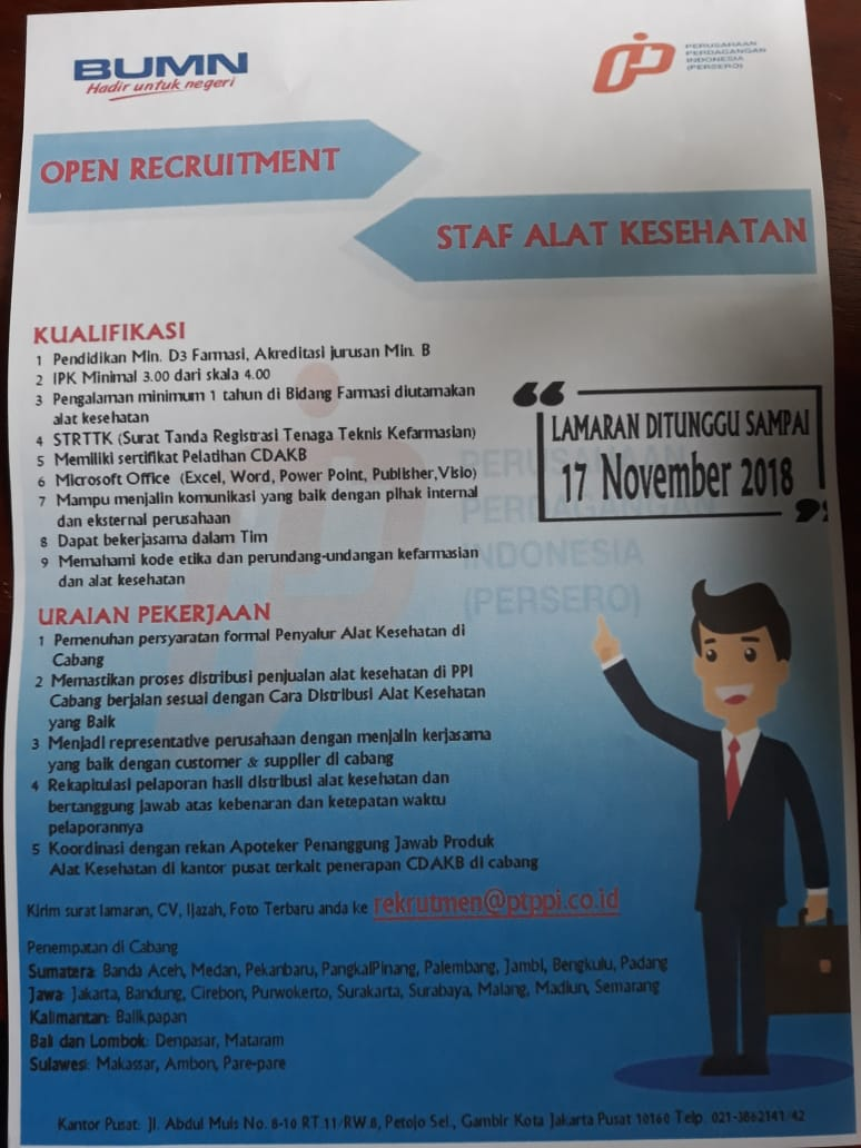 Open Recruitment Staff Alat Kesehatan PT PPI